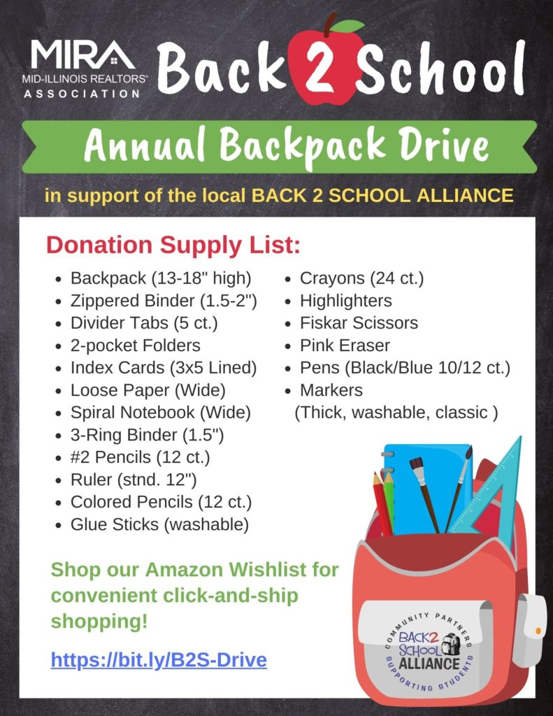 Back 2 School Backpack Drive Supply List